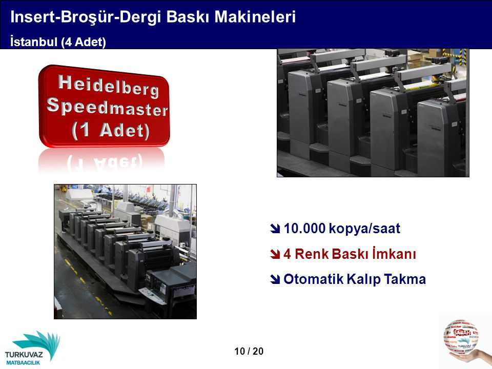  10.000 kopya/saat  4 Renk Baskı İmkanı  Otomatik Kalıp Takma 10 / 20 Insert-Broşür-Dergi Baskı Makineleri İstanbul (4 Adet)