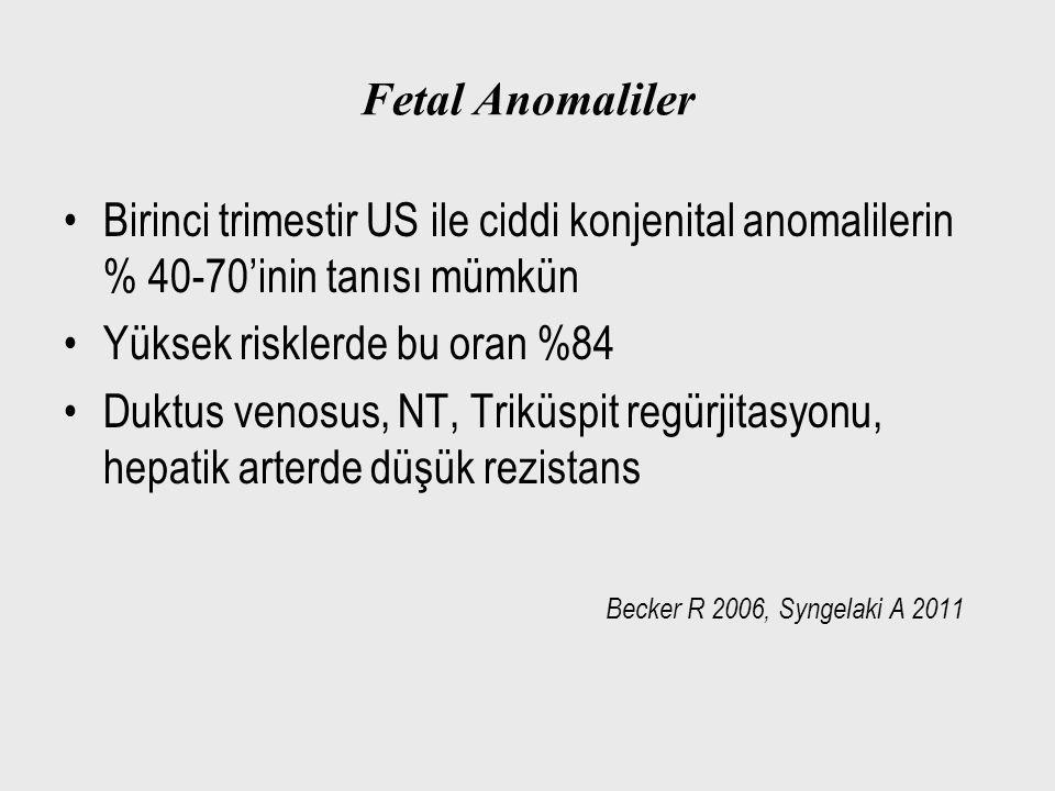 Fetal Anomaliler Birinci trimestir US ile ciddi konjenital anomalilerin % 40-70'inin tanısı mümkün Yüksek risklerde bu oran %84 Duktus venosus, NT, Tr