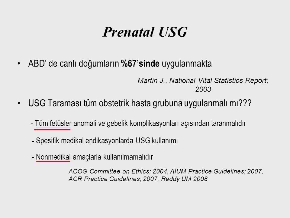 Prenatal USG ABD' de canlı doğumların %67'sinde uygulanmakta USG Taraması tüm obstetrik hasta grubuna uygulanmalı mı??? - Tüm fetüsler anomali ve gebe