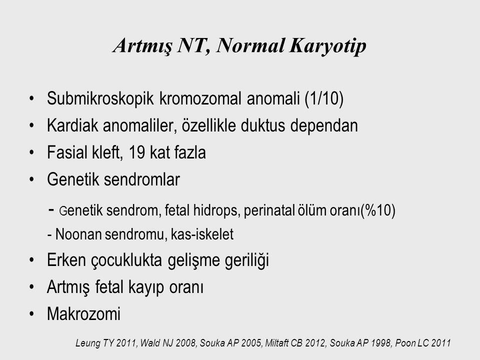 Artmış NT, Normal Karyotip Submikroskopik kromozomal anomali (1/10) Kardiak anomaliler, özellikle duktus dependan Fasial kleft, 19 kat fazla Genetik s