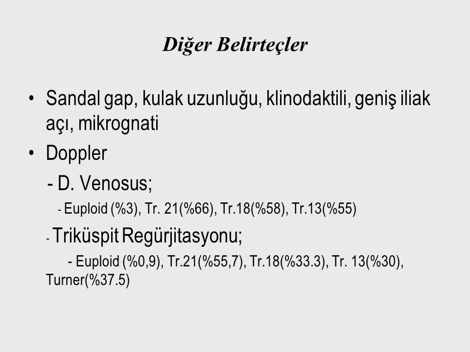 Diğer Belirteçler Sandal gap, kulak uzunluğu, klinodaktili, geniş iliak açı, mikrognati Doppler - D. Venosus; - Euploid (%3), Tr. 21(%66), Tr.18(%58),