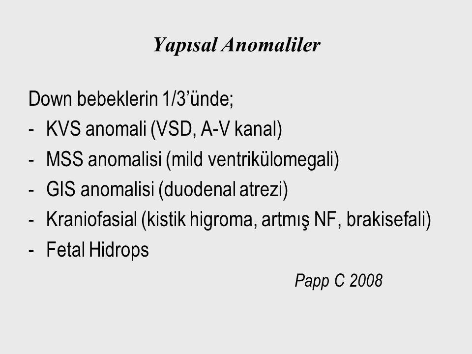 Yapısal Anomaliler Down bebeklerin 1/3'ünde; -KVS anomali (VSD, A-V kanal) -MSS anomalisi (mild ventrikülomegali) -GIS anomalisi (duodenal atrezi) -Kr