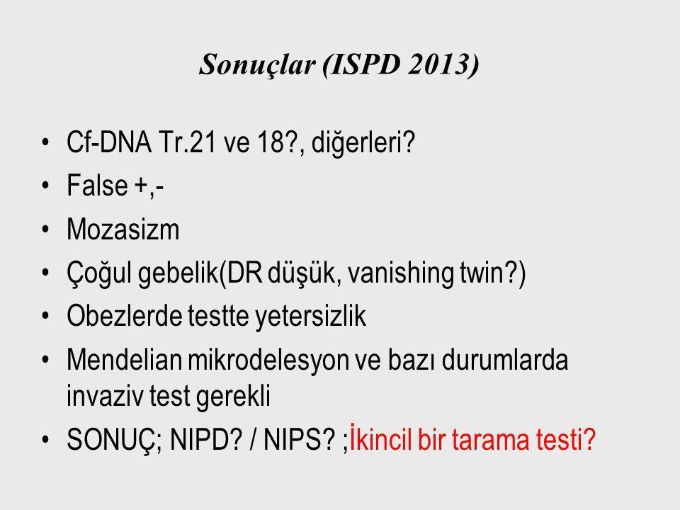 Sonuçlar (ISPD 2013) Cf-DNA Tr.21 ve 18?, diğerleri? False +,- Mozasizm Çoğul gebelik(DR düşük, vanishing twin?) Obezlerde testte yetersizlik Mendelia