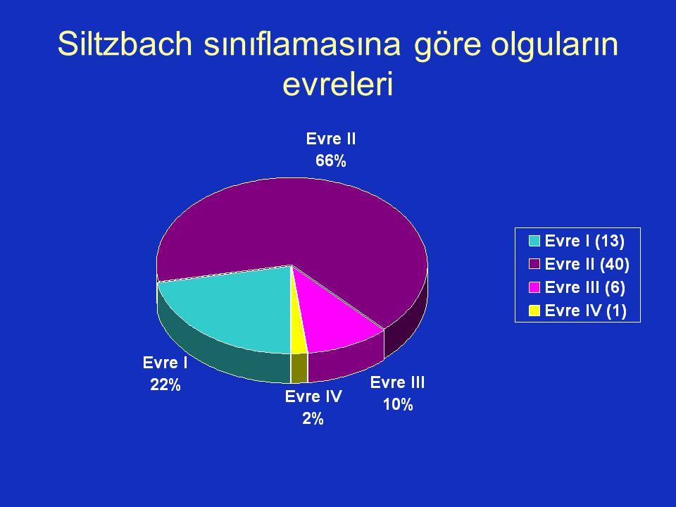 Siltzbach sınıflamasına göre olguların evreleri
