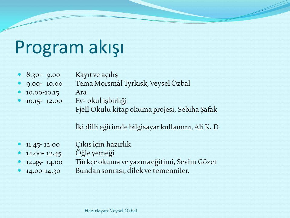 Program akışı 8.30-9.00Kayıt ve açılış 9.00- 10.00Tema Morsmål Tyrkisk, Veysel Özbal 10.00-10.15Ara 10.15-12.00Ev- okul işbirliği Fjell Okulu kitap okuma projesi, Sebiha Şafak İki dilli eğitimde bilgisayar kullanımı, Ali K.