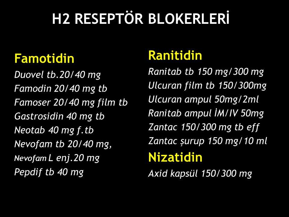 Famotidin Duovel tb.20/40 mg Famodin 20/40 mg tb Famoser 20/40 mg film tb Gastrosidin 40 mg tb Neotab 40 mg f.tb Nevofam tb 20/40 mg, Nevofam L enj.20 mg Pepdif tb 40 mg H2 RESEPTÖR BLOKERLERİ Ranitidin Ranitab tb 150 mg/300 mg Ulcuran film tb 150/300mg Ulcuran ampul 50mg/2ml Ranitab ampul İM/IV 50mg Zantac 150/300 mg tb eff Zantac şurup 150 mg/10 ml Nizatidin Axid kapsül 150/300 mg