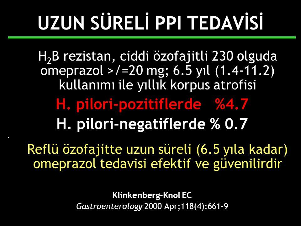 UZUN SÜRELİ PPI TEDAVİSİ H 2 B rezistan, ciddi özofajitli 230 olguda omeprazol >/=20 mg; 6.5 yıl (1.4-11.2) kullanımı ile yıllık korpus atrofisi H. pi