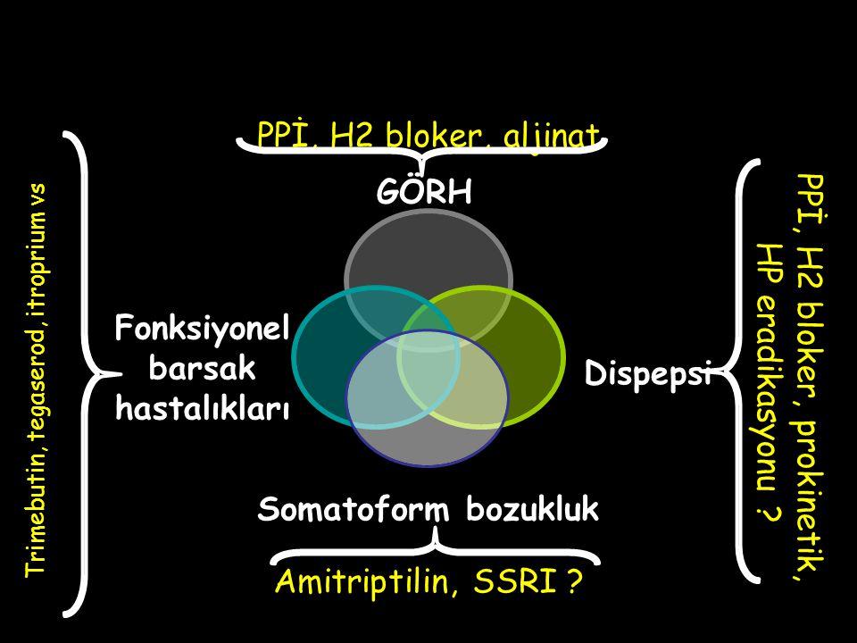 GÖRH Fonksiyonel barsak hastalıkları Dispepsi Somatoform bozukluk PPİ, H2 bloker, aljinat Trimebutin, tegaserod, itroprium vs PPİ, H2 bloker, prokinetik, HP eradikasyonu .