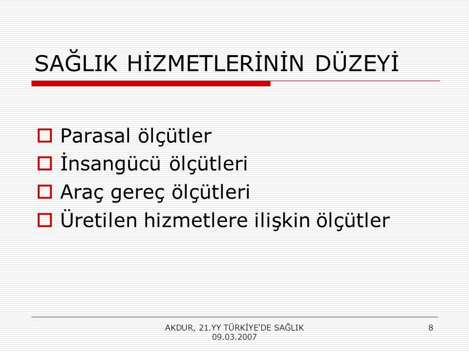 Türkiye'nin Temel Sağlık Göstergelerinin AB-15 Ortalaması ile Karşılaştırılması (1990-2003) Kaynak (3): Dokuzuncu Kalkınma Planı Sağlık Özel İhtisas Komisyonu Raporu SAGLIK DÜZEYi GÖSTERGELERi TÜRKiYEAB-15 ORT.