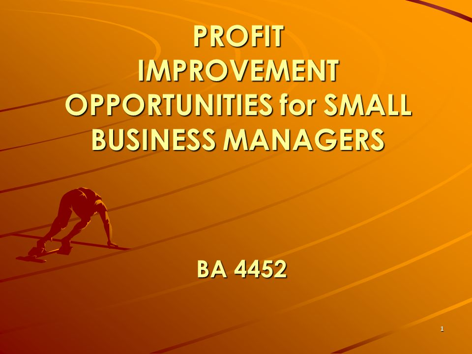 1 PROFIT IMPROVEMENT OPPORTUNITIES for SMALL BUSINESS MANAGERS BA 4452
