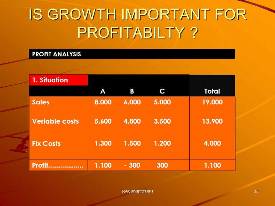 KAR ENSTİTÜSÜ 12 IS GROWTH IMPORTANT FOR PROFITABILTY .