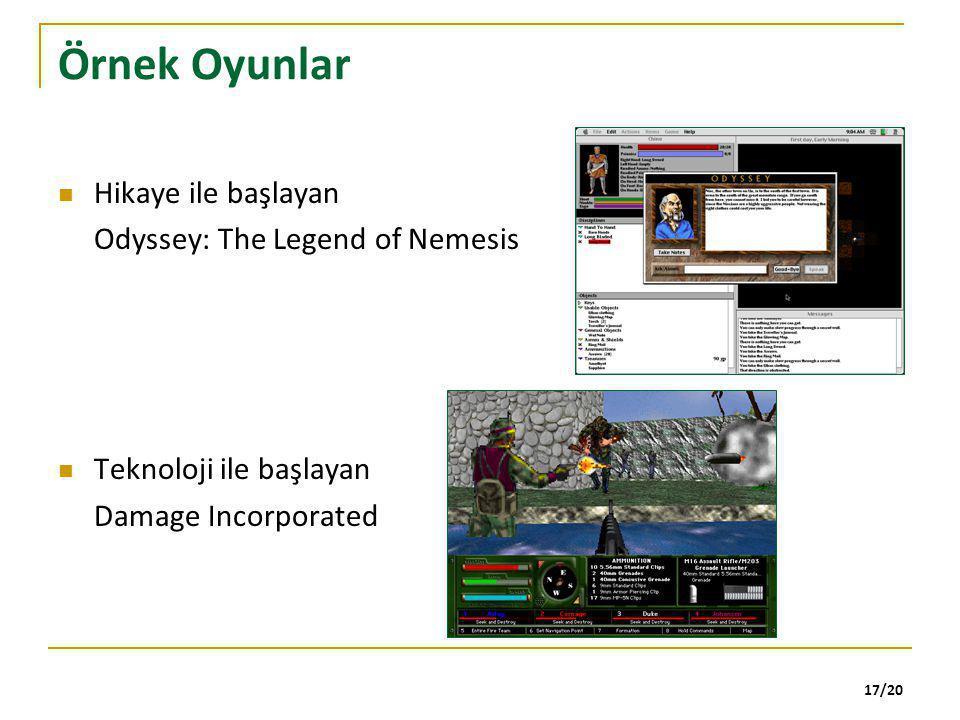 17/20 Örnek Oyunlar Hikaye ile başlayan Odyssey: The Legend of Nemesis Teknoloji ile başlayan Damage Incorporated