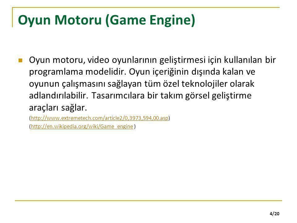 4/20 Oyun Motoru (Game Engine) Oyun motoru, video oyunlarının geliştirmesi için kullanılan bir programlama modelidir. Oyun içeriğinin dışında kalan ve