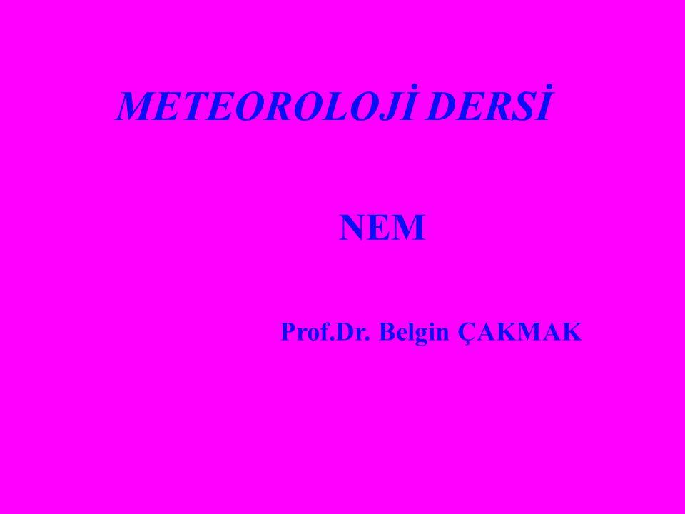 METEOROLOJİ DERSİ NEM Prof.Dr. Belgin ÇAKMAK