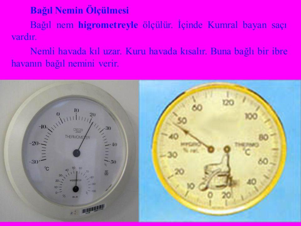 Bağıl Nemin Ölçülmesi Bağıl nem higrometreyle ölçülür.