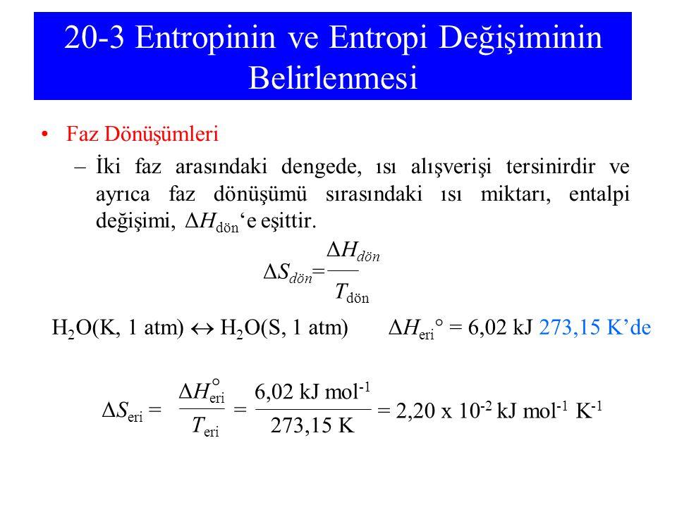 20-3 Entropinin ve Entropi Değişiminin Belirlenmesi Faz Dönüşümleri –İki faz arasındaki dengede, ısı alışverişi tersinirdir ve ayrıca faz dönüşümü sır