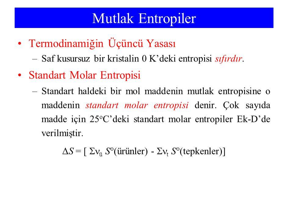 Mutlak Entropiler Termodinamiğin Üçüncü Yasası –Saf kusursuz bir kristalin 0 K'deki entropisi sıfırdır. Standart Molar Entropisi –Standart haldeki bir