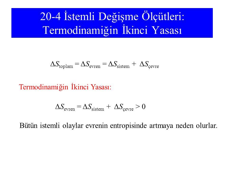 20-4 İstemli Değişme Ölçütleri: Termodinamiğin İkinci Yasası ΔS toplam = ΔS evren = ΔS sistem + ΔS çevre Termodinamiğin İkinci Yasası: ΔS evren = ΔS s