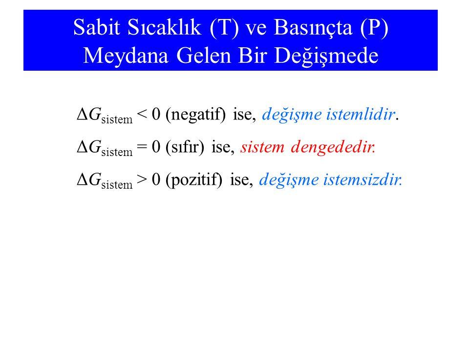 Sabit Sıcaklık (T) ve Basınçta (P) Meydana Gelen Bir Değişmede ΔG sistem < 0 (negatif) ise, değişme istemlidir. ΔG sistem = 0 (sıfır) ise, sistem deng