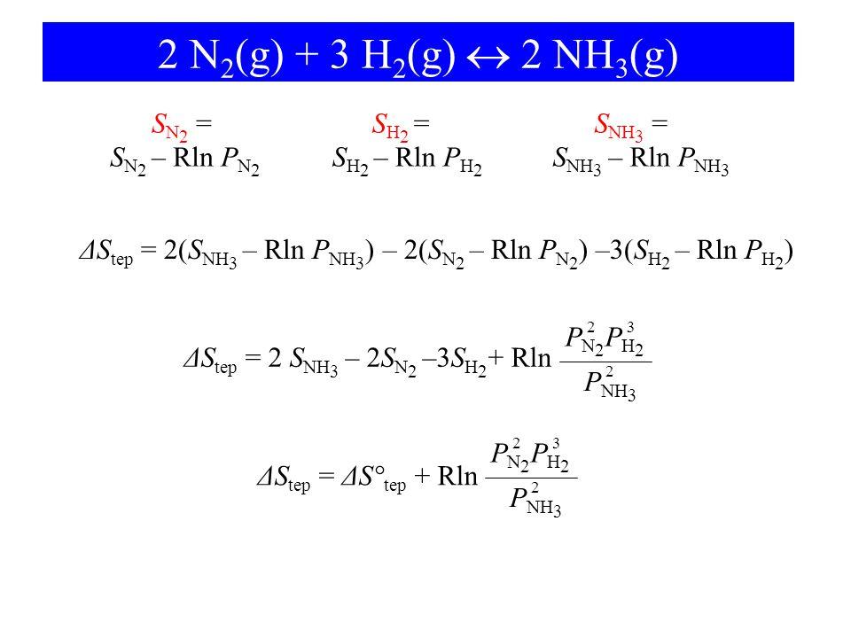 2 N 2 (g) + 3 H 2 (g)  2 NH 3 (g) S NH 3 = S NH 3 – Rln P NH 3 S N 2 = S N 2 – Rln P N 2 S H 2 = S H 2 – Rln P H 2 ΔS tep = 2(S NH 3 – Rln P NH 3 ) –