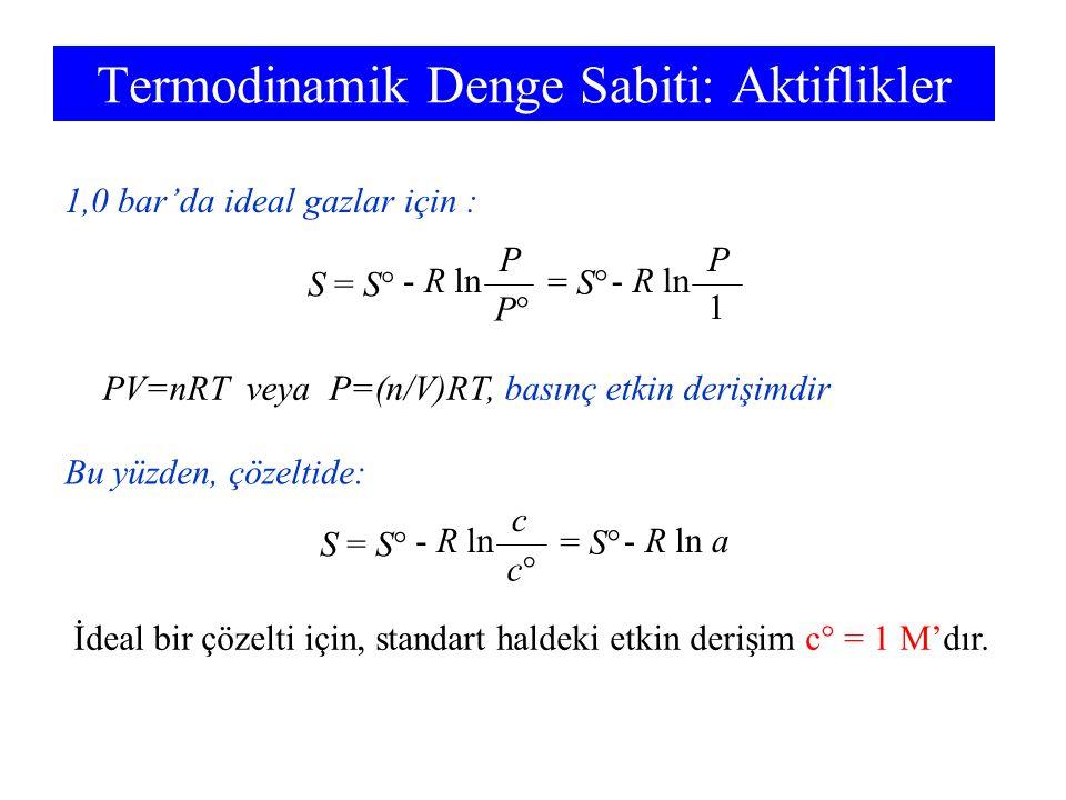 Termodinamik Denge Sabiti: Aktiflikler S = S° - R ln P P°P° = S° - R ln P 1 1,0 bar'da ideal gazlar için : S = S° - R ln c c°c° = S° - R ln a Bu yüzde