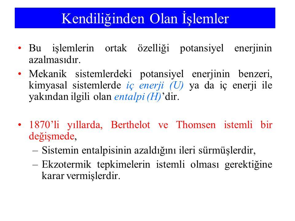 Aktiflikler Saf katı ve sıvılar için: »a = 1 İdeal gazlar için: »a = P (bar olarak, 1 bar = 0,987 atm) Sulu çözeltideki çözünenler için: »a = c (mol L -1 )