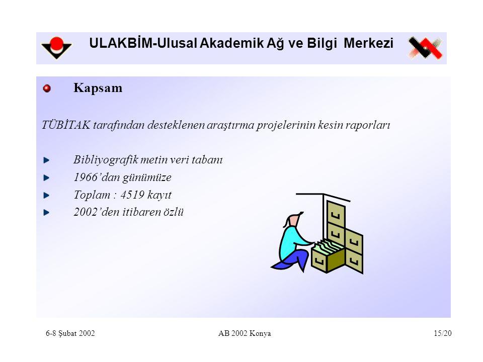 ULAKBİM-Ulusal Akademik Ağ ve Bilgi Merkezi Kapsam TÜBİTAK tarafından desteklenen araştırma projelerinin kesin raporları Bibliyografik metin veri tabanı 1966'dan günümüze Toplam : 4519 kayıt 2002'den itibaren özlü 6-8 Şubat 2002AB 2002 Konya15/20