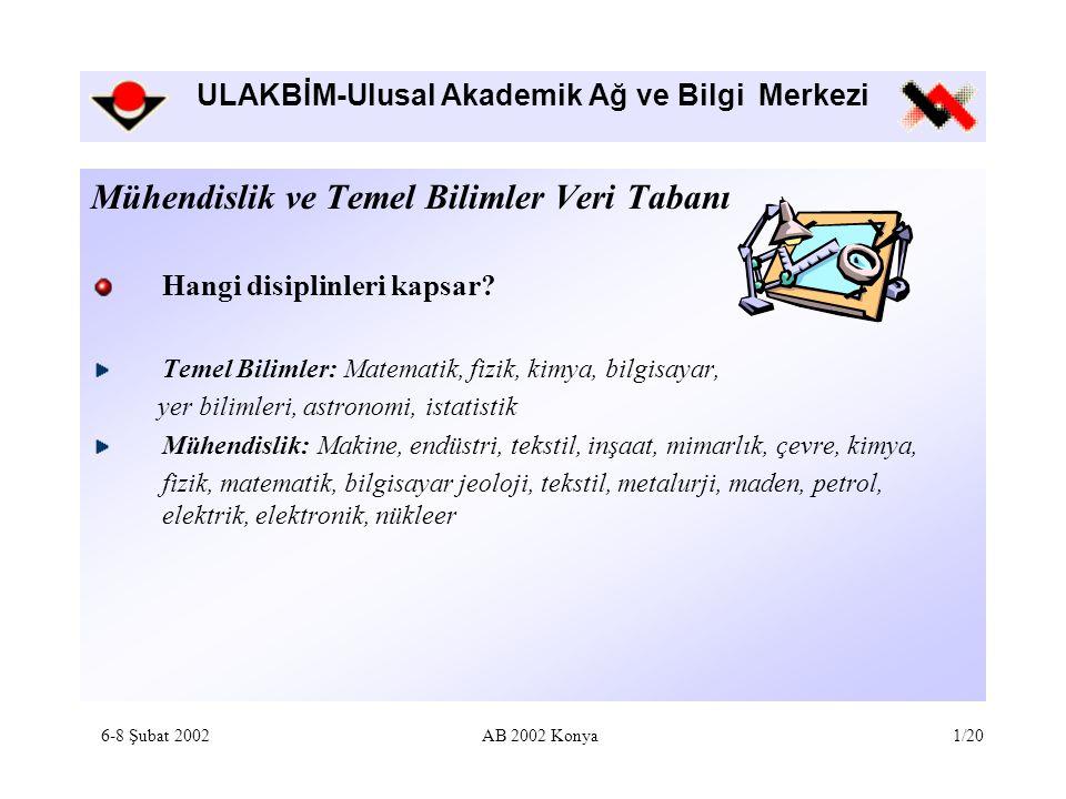 ULAKBİM-Ulusal Akademik Ağ ve Bilgi Merkezi Kullanım istatistikleri Web'e açıldığı tarih olan Mayıs 2001'den itibaren 4953 kez kullanım 6-8 Şubat 2002AB 2002 Konya12/20