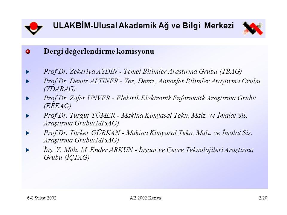 ULAKBİM-Ulusal Akademik Ağ ve Bilgi Merkezi Dergi değerlendirme komisyonu Prof.Dr. Zekeriya AYDIN - Temel Bilimler Araştırma Grubu (TBAG) Prof.Dr. Dem