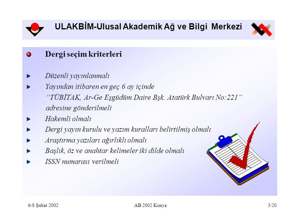 ULAKBİM-Ulusal Akademik Ağ ve Bilgi Merkezi Hangi dergiler indekslenmektedir.