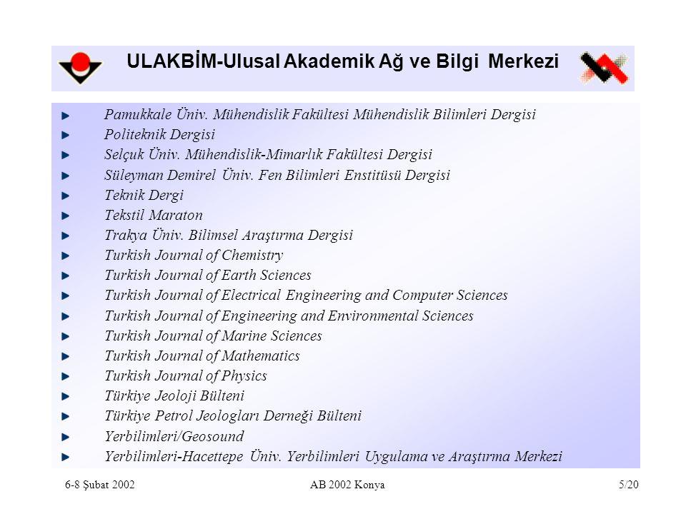 ULAKBİM-Ulusal Akademik Ağ ve Bilgi Merkezi Kapsam Türkiye'de yayınlanan Türkçe ve diğer dillerdeki araştırma makaleleri Bibliyografik metin veri tabanı 1992 – 1073 kayıt 1993 – 956 kayıt 1994 – 1246 kayıt 1995 – 765 kayıt 2000 – 147 kayıt 2001 – 563 kayıt Toplam – 4750 kayıt 1995-2000 yılları arası geriye dönük olarak indekslenmektedir.