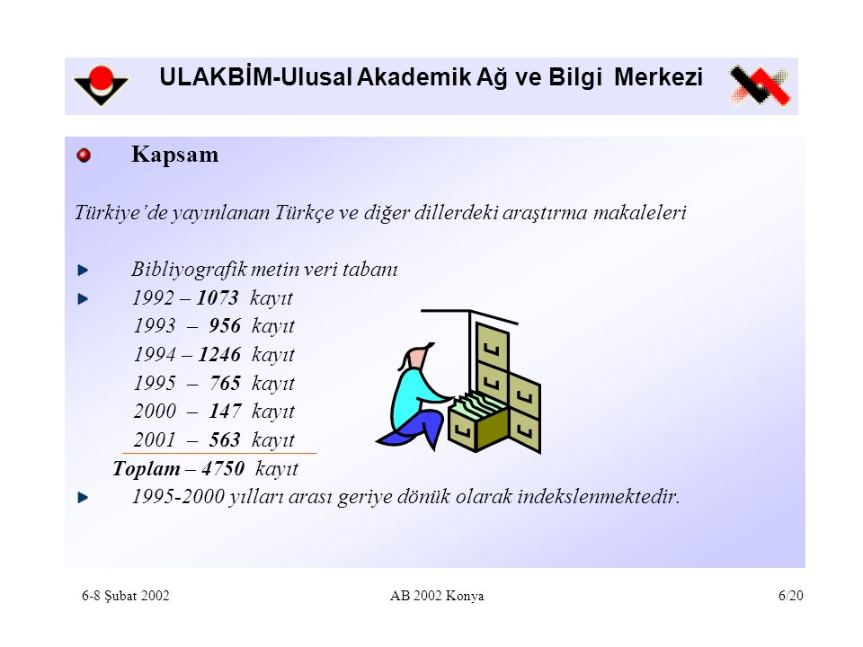 ULAKBİM-Ulusal Akademik Ağ ve Bilgi Merkezi Kapsam Türkiye'de yayınlanan Türkçe ve diğer dillerdeki araştırma makaleleri Bibliyografik metin veri taba