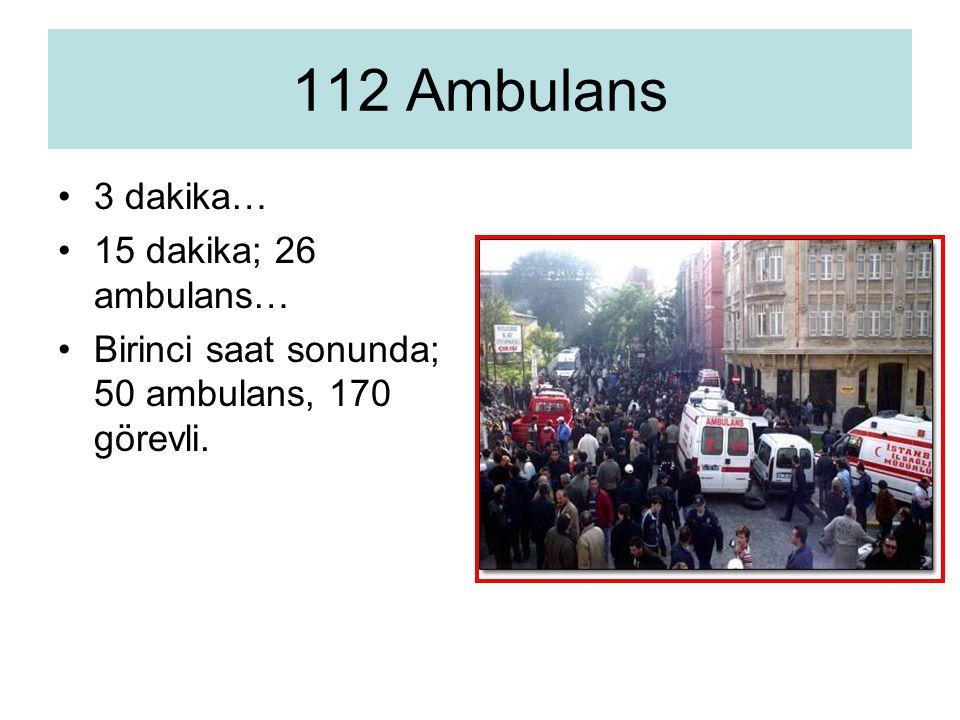 3 dakika… 15 dakika; 26 ambulans… Birinci saat sonunda; 50 ambulans, 170 görevli. 112 Ambulans