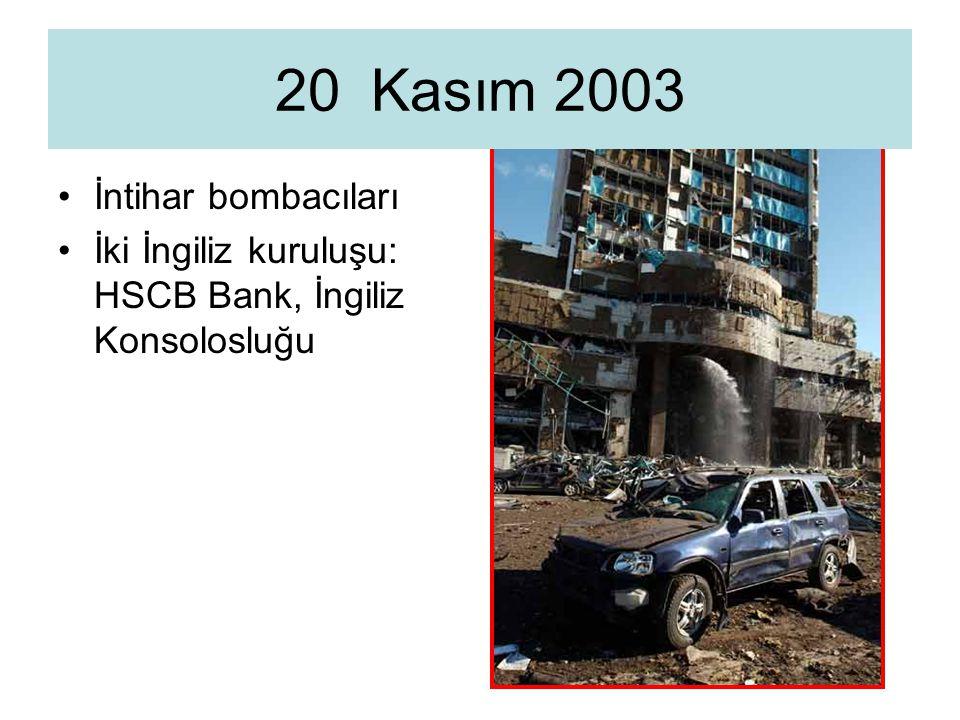İntihar bombacıları İki İngiliz kuruluşu: HSCB Bank, İngiliz Konsolosluğu 20 Kasım 2003