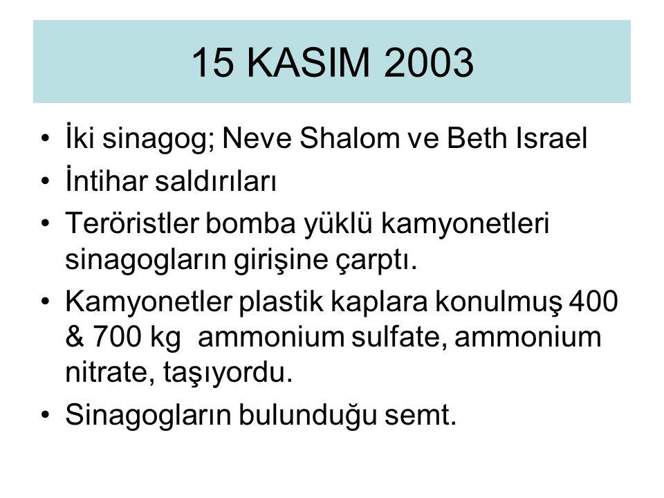 İki sinagog; Neve Shalom ve Beth Israel İntihar saldırıları Teröristler bomba yüklü kamyonetleri sinagogların girişine çarptı.