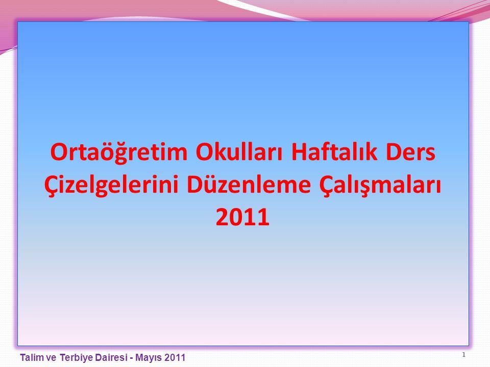 Ortaöğretim Okulları Haftalık Ders Çizelgelerini Düzenleme Çalışmaları 2011 1 Talim ve Terbiye Dairesi - Mayıs 2011