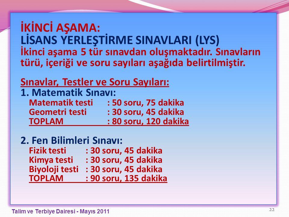 İKİNCİ AŞAMA: LİSANS YERLEŞTİRME SINAVLARI (LYS) İkinci aşama 5 tür sınavdan oluşmaktadır. Sınavların türü, içeriği ve soru sayıları aşağıda belirtilm