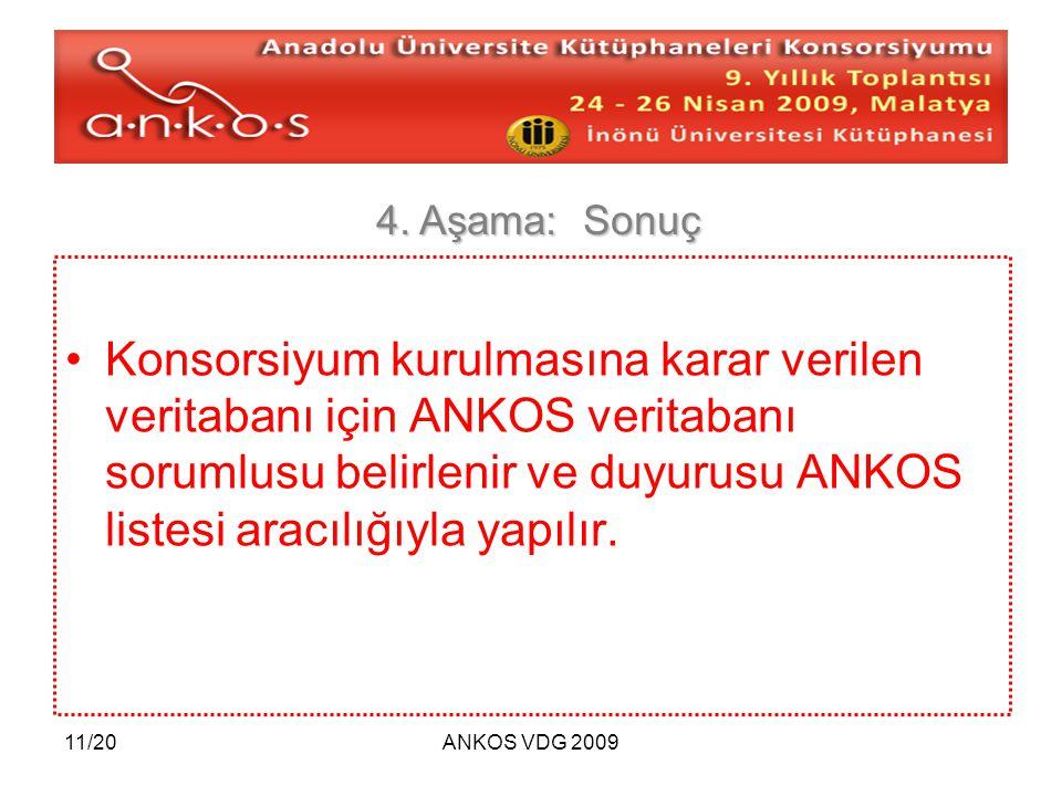11/20ANKOS VDG 2009 Konsorsiyum kurulmasına karar verilen veritabanı için ANKOS veritabanı sorumlusu belirlenir ve duyurusu ANKOS listesi aracılığıyla yapılır.