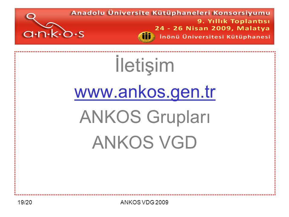 19/20ANKOS VDG 2009 İletişim www.ankos.gen.tr ANKOS Grupları ANKOS VGD