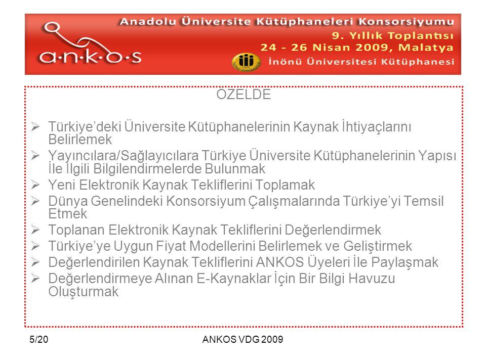 5/20ANKOS VDG 2009 ÖZELDE  Türkiye'deki Üniversite Kütüphanelerinin Kaynak İhtiyaçlarını Belirlemek  Yayıncılara/Sağlayıcılara Türkiye Üniversite Kü