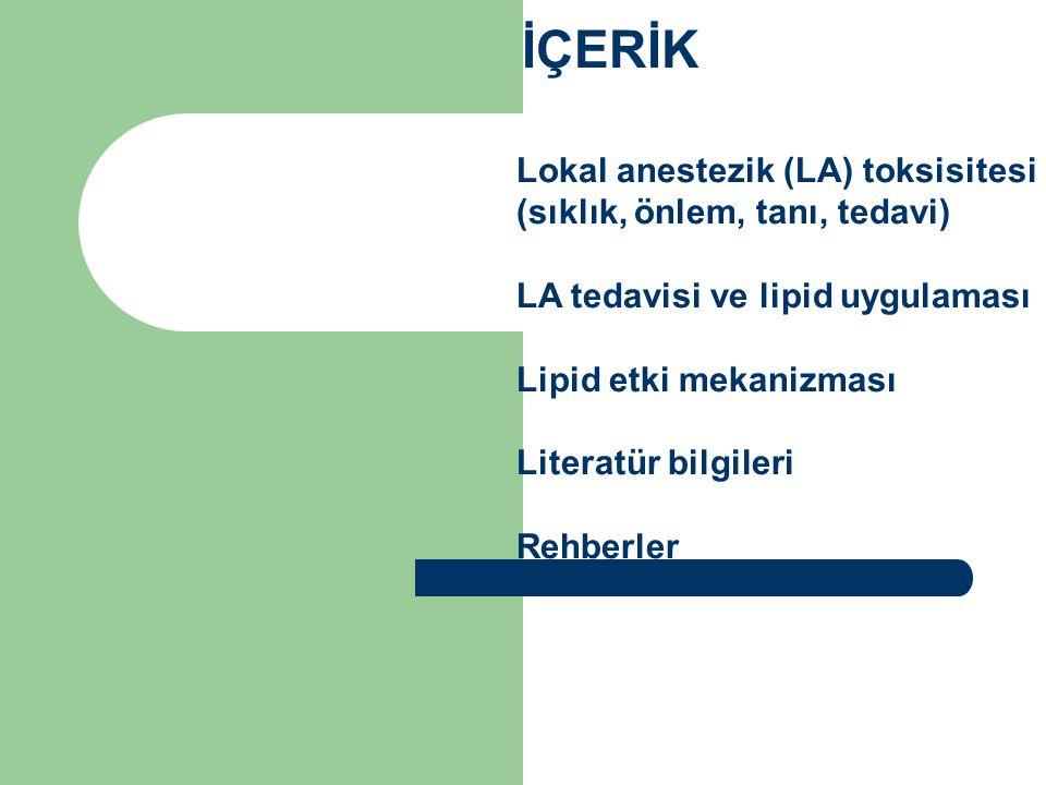 İÇERİK Lokal anestezik (LA) toksisitesi (sıklık, önlem, tanı, tedavi) LA tedavisi ve lipid uygulaması Lipid etki mekanizması Literatür bilgileri Rehbe