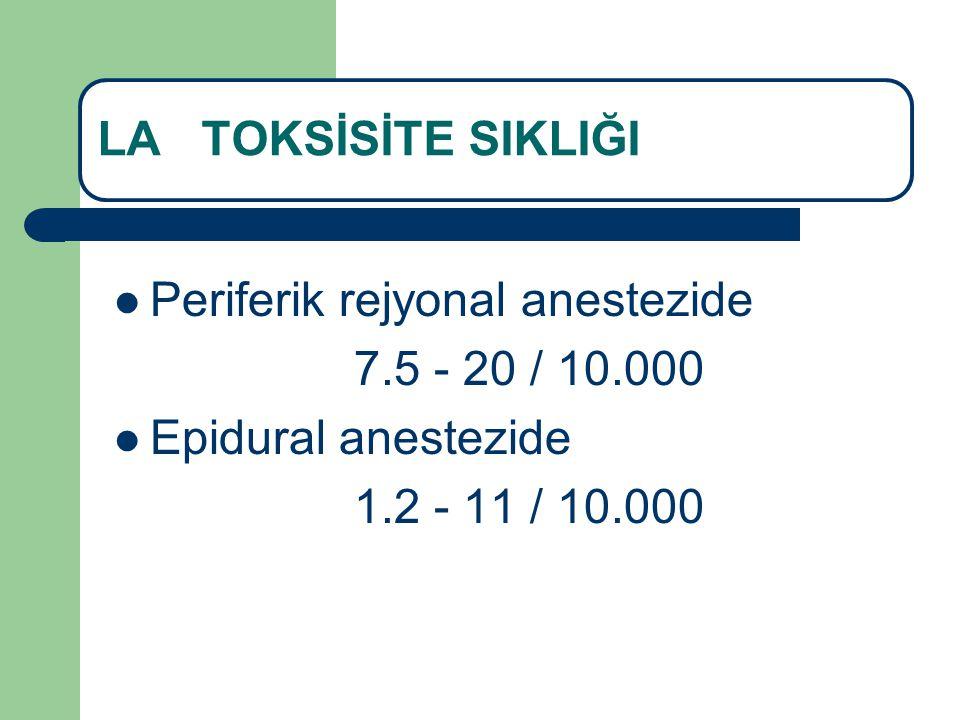 LA TOKSİSİTE TEDAVİSİ Adrenalin 10-100 mcg (IIa;C) Vazopressin önerilmiyor(IIB;B) Ca kanal blokeri ve β-adrenerjik reseptör blokeri önerilmiyor(III;C) Ventriküler aritmi varsa amiodarone(IIa;B) Weinberg G, Reg Anesth Pain Med, 2010