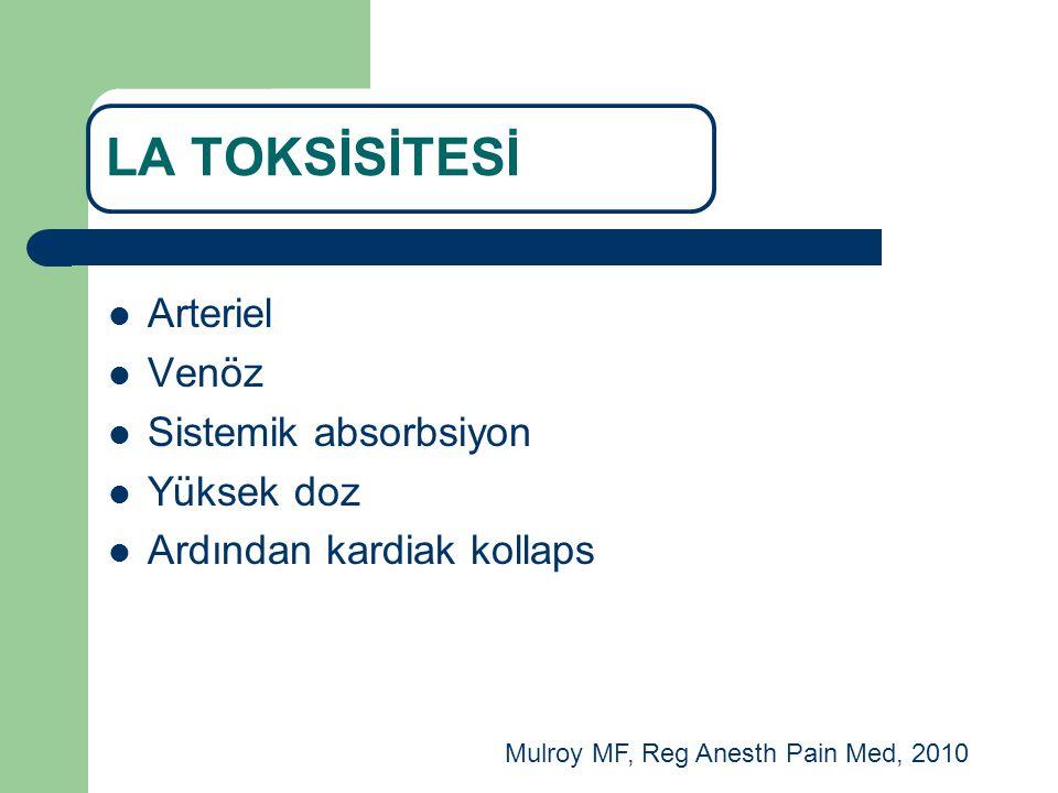 Arteriel Venöz Sistemik absorbsiyon Yüksek doz Ardından kardiak kollaps LA TOKSİSİTESİ Mulroy MF, Reg Anesth Pain Med, 2010