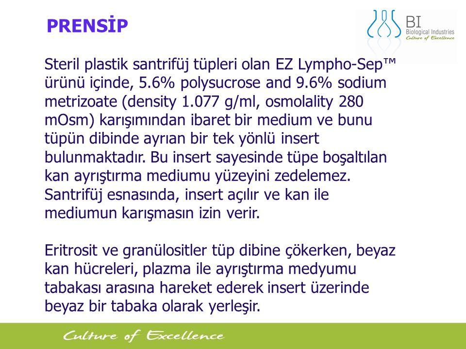7 PRENSİP Steril plastik santrifüj tüpleri olan EZ Lympho-Sep™ ürünü içinde, 5.6% polysucrose and 9.6% sodium metrizoate (density 1.077 g/ml, osmolality 280 mOsm) karışımından ibaret bir medium ve bunu tüpün dibinde ayrıan bir tek yönlü insert bulunmaktadır.