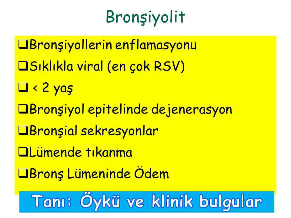  Bronşiyollerin enflamasyonu  Sıklıkla viral (en çok RSV)  < 2 yaş  Bronşiyol epitelinde dejenerasyon  Bronşial sekresyonlar  Lümende tıkanma 