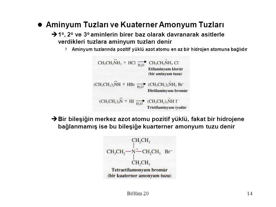Bölüm 2014 Aminyum Tuzları ve Kuaterner Amonyum Tuzları  1 o, 2 o ve 3 o aminlerin birer baz olarak davranarak asitlerle verdikleri tuzlara aminyum t