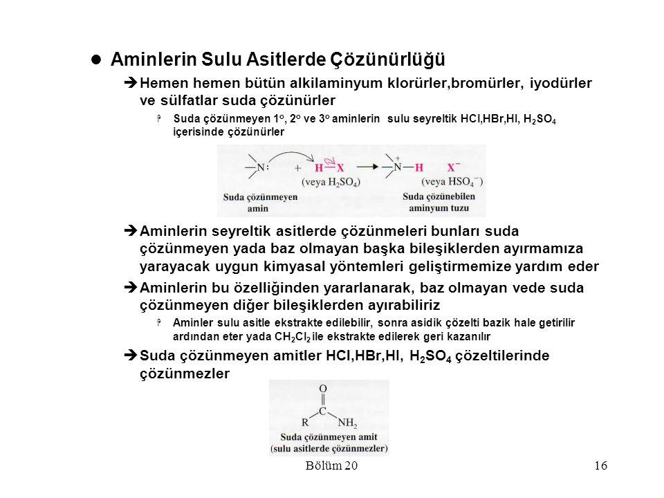 Bölüm 2016 Aminlerin Sulu Asitlerde Çözünürlüğü  Hemen hemen bütün alkilaminyum klorürler,bromürler, iyodürler ve sülfatlar suda çözünürler  Suda çö