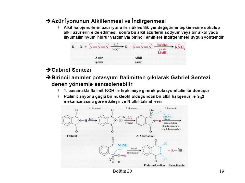 Bölüm 2019  Azür İyonunun Alkillenmesi ve İndirgenmesi  Alkil halojenürlerin azür iyonu ile nükleofilik yer değiştirme tepkimesine sokulup alkil azü
