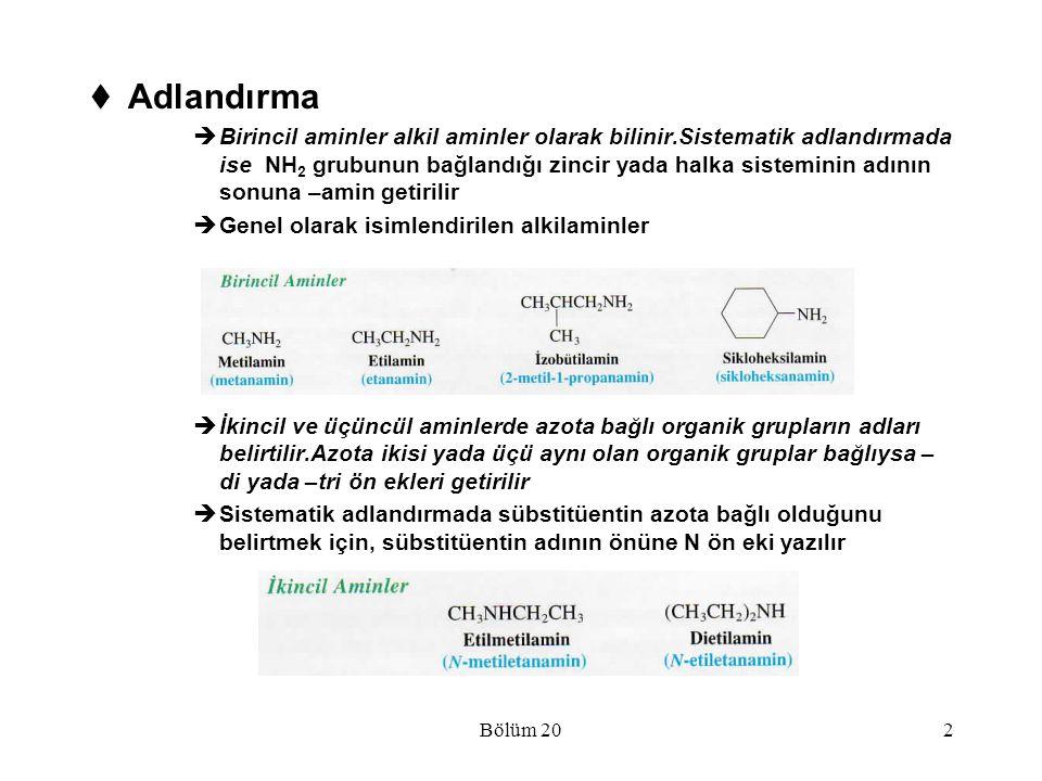 Bölüm 202  Adlandırma  Birincil aminler alkil aminler olarak bilinir.Sistematik adlandırmada ise NH 2 grubunun bağlandığı zincir yada halka sistemin