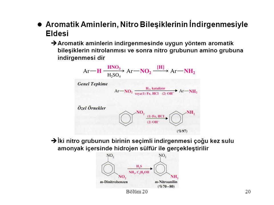 Bölüm 2020 Aromatik Aminlerin, Nitro Bileşiklerinin İndirgenmesiyle Eldesi  Aromatik aminlerin indirgenmesinde uygun yöntem aromatik bileşiklerin nit